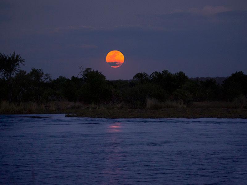 Full moon on a Zambezi dinner cruise